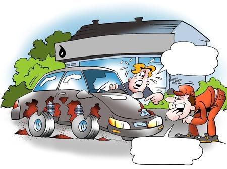 ingeniero caricatura: Oxidado coches usadas  Foto de archivo
