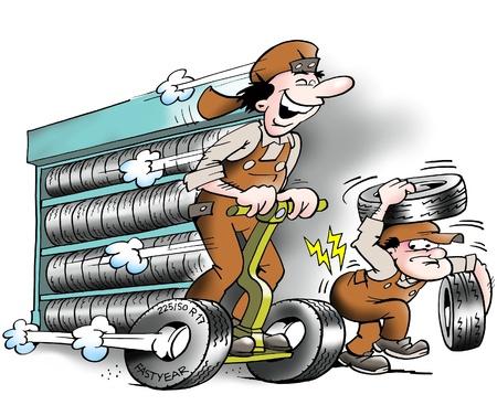 ingeniero caricatura: Velocidad en el almac�n  Foto de archivo