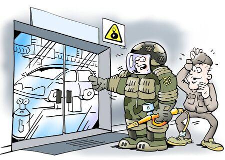 ingeniero caricatura: Equipos de seguridad