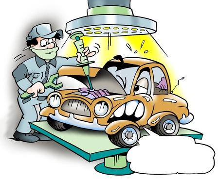 ingeniero caricatura: Revisi�n importante de coche
