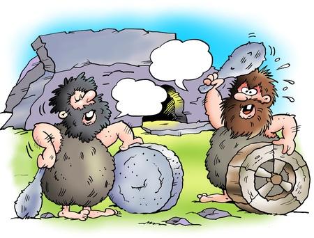 ingeniero caricatura: Dos habitantes de la cueva con sus ruedas  Foto de archivo