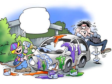 ingeniero caricatura: Hijo ha pintado el coche del padre  Foto de archivo