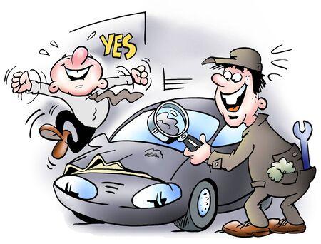 ingeniero caricatura: Una peque�a abolladura en el coche