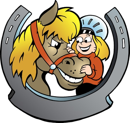 ponies: Hand-drawn Vector illustration of an Rider and Horse