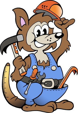 Hand-drawn Vector illustration of an Kangaroo Handyman  Illustration