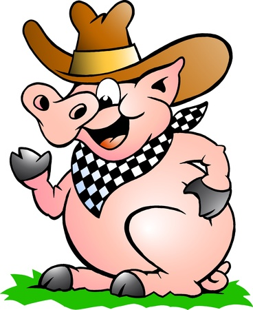 Hand-drawn Vector illustration of an Pig Chef that Welcomes Vector