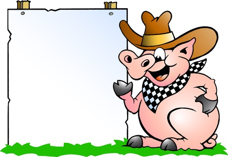 cook cartoon: Hand-drawn Vector illustration of an Pig Chef in front of a sign
