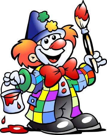 clown cirque: Dessinées à la main Vector illustration d'un clown peinture