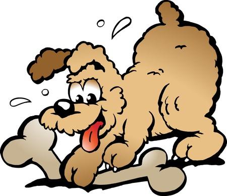 caricaturas de animales: Ilustración de Vector de mano de un cachorro de perro con un hueso grande  Vectores
