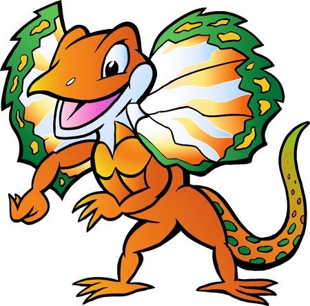 Hand-drawn Vector illustration of an Lizard in colorful splendor Vector