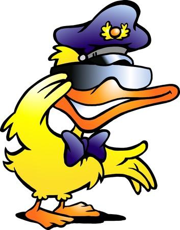 pato caricatura: Mano ilustración vectorial de un pato en uniforme