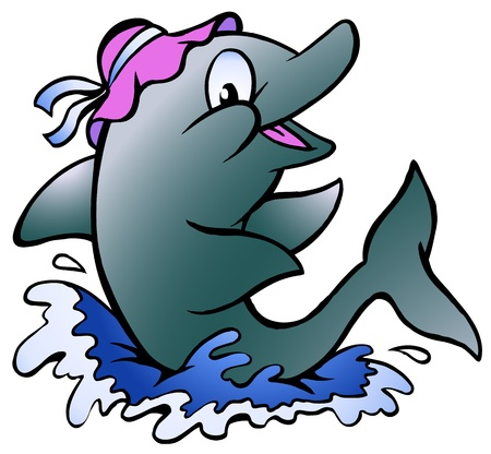Hand-drawn Vector illustration of an Dolphin playing in the blue water