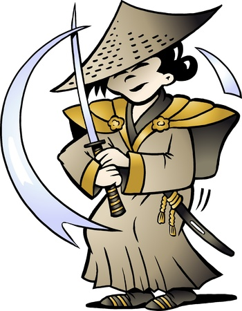 cartoon warrior: Hand-drawn Vector illustration of an Japanese Samurai