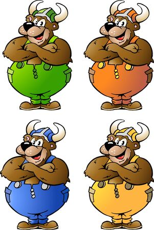 Hand-drawn Vector illustrations of 4 Viking Bear in Colored Overalls  Vector