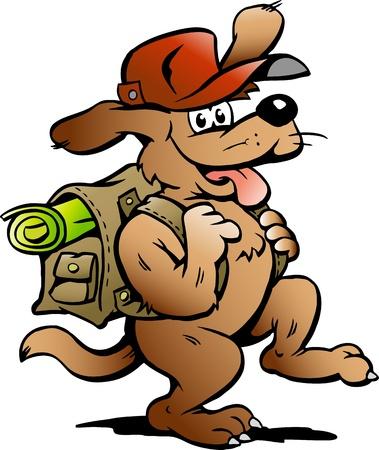 mochila viaje: Mano ilustraci�n vectorial de un perro de mochilero viajando