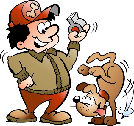 obedience: Ilustración de Vector de mano de un entrenador de perros Vectores