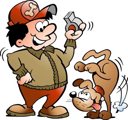 engedelmesség: Kézzel rajzolt vektoros illusztráció egy Dog Trainer Illusztráció