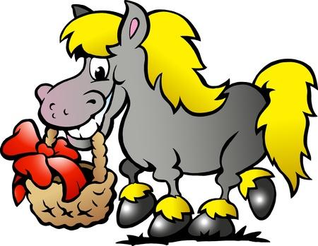 caricatura: Dibujado a mano ilustración de un caballo Pony