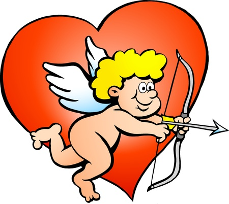 eros: Hand-drawn illustration of an Amor Angel Boy   Illustration