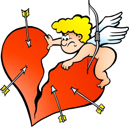 Hand-drawn  illustration of an Angry Amor Angel Boy   Vector