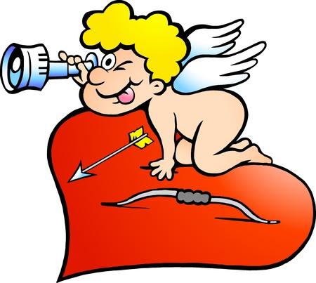 angel de la guarda: Dibujado a mano ilustración de un niño Ángel Amor en busca de amor