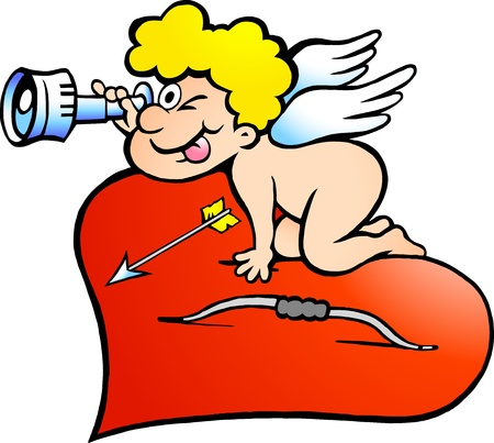 Hand-drawn illustration of an Amor Angel Boy looking for love Vector