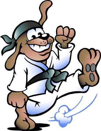 judo: Dibujado a mano ilustración de un perro de Prácticas de Autodefensa