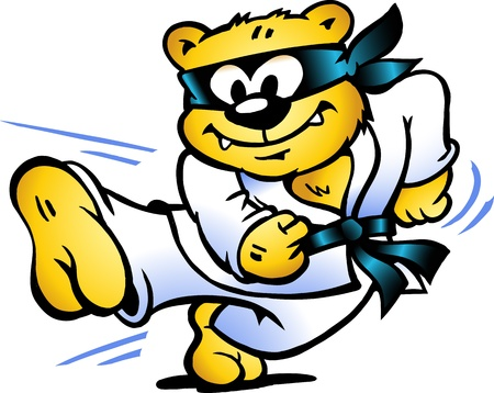 Hand-drawn illustration of an Tiger Practices Self-Defense  Vectores