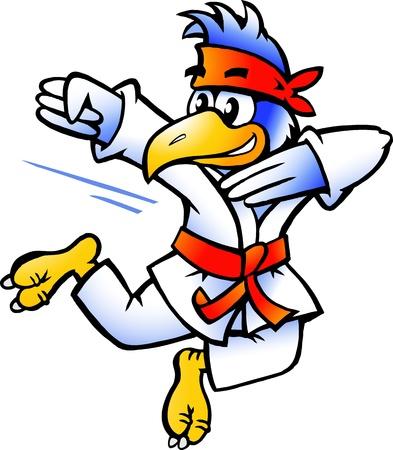 judo: Dibujado a mano ilustración de un pájaro las prácticas de Autodefensa