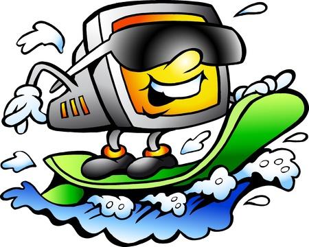 Hand-drawn illustration of an Surfing Retro Screen