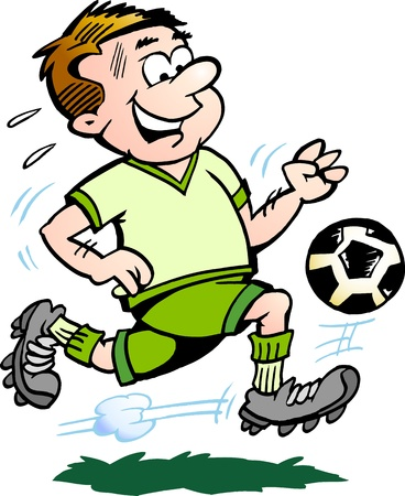 futbol soccer dibujos: Dibujado a mano ilustraci�n de un Jugador de F�tbol