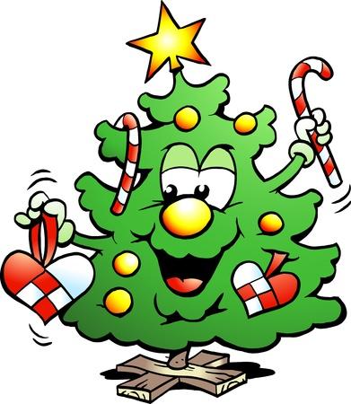 fir tree balls: Hand-drawn illustration of an Happy Christmas Tree