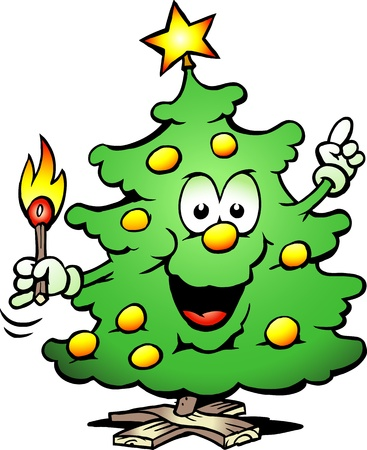 Hand-drawn illustration of an Christmas Tree  With a match Vector