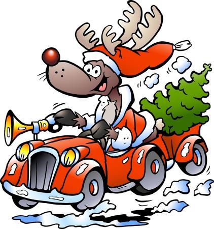 weihnachtsmann lustig: Hand gezeichnete Illustration eines Rentierführerschein Auto