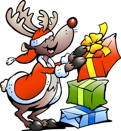 Hand-drawn illustration of an Reindeer with Christmas gifts  Vector