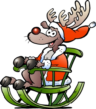 Hand-drawn illustration of an Reindeer sitting in rocking chair Vector
