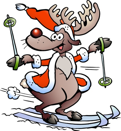 rudolph the red nose reindeer: Hand-drawn illustration of an Reindeer Skiing Illustration