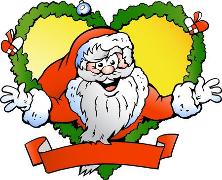 Hand-drawn illustration of an Welcoming Santa Claus Vector