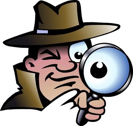 Met de hand getekende illustratie van een inspecteur Detective Vector Illustratie