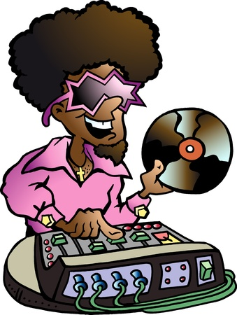 disk jockey: Hand-drawn illustration of an Disco DJ