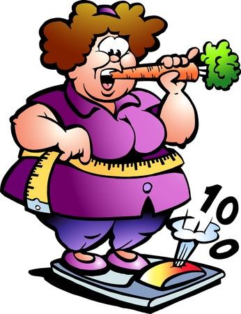 Hand gezeichnete Illustration eines Fat Lady Vektorgrafik