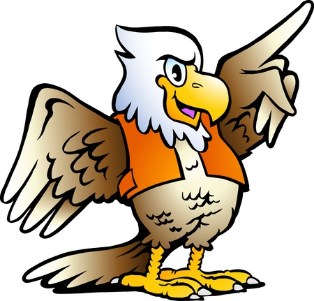 Hand-drawn illustration of an Pointing Eagle