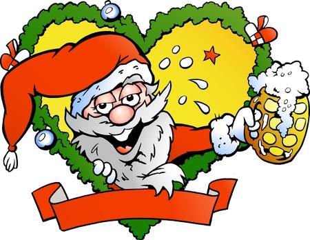 cartoon present: Hand-drawn illustration of an drunk santa