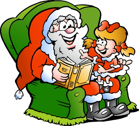 tells: Hand-drawn illustration of an Santa Claus tells a story to an little girl