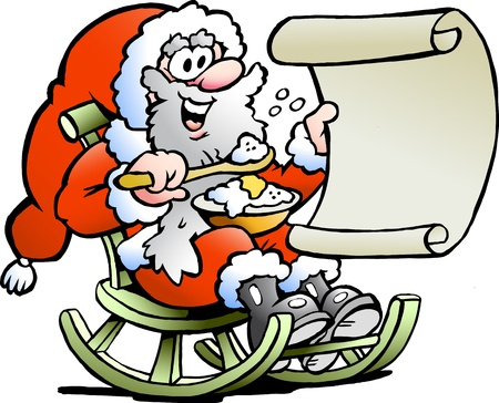 Hand-drawn illustration of an Santa Claus looks on his wish list illustration
