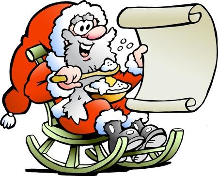 wish list: Hand-drawn illustration of an Santa Claus looks on his wish list