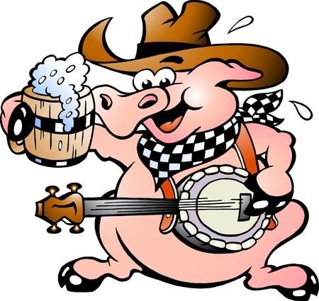 Hand-drawn illustration of an pig playing banjo