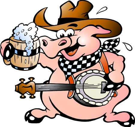 Hand-drawn illustration of an pig playing banjo illustration