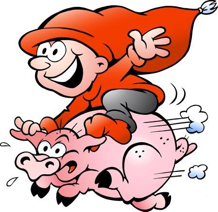 cerdo caricatura: Dibujados a mano ilustración vectorial de elfo montado en un cerdo