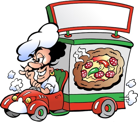 Hand-drawn Vector illustration of an Italien pizza dilevery car Ilustração